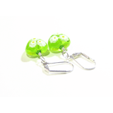 Murano Glass Lime Green Millefiori Heart Silver Earrings by JKC Murano - JKC Murano