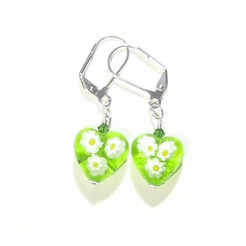 Murano Glass Lime Green Millefiori Heart Silver Earrings by JKC Murano