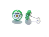 Murano Green Millefiori Sterling Post Earrings, Stud JKC Murano