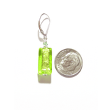Murano Glass Lime Green Rectangle Silver Earrings - JKC Murano