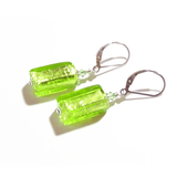 Murano Glass Lime Green Rectangle Silver Earrings, JKC Murano