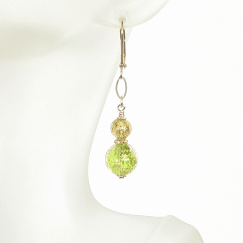 Murano Glass Green Topaz Ball Gold Earrings by JKC Murano