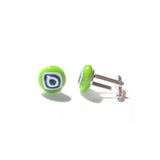 Lime Green Bulls Eye Millefiori Cuff Links, Murano Glass Jewelry JKC Murano