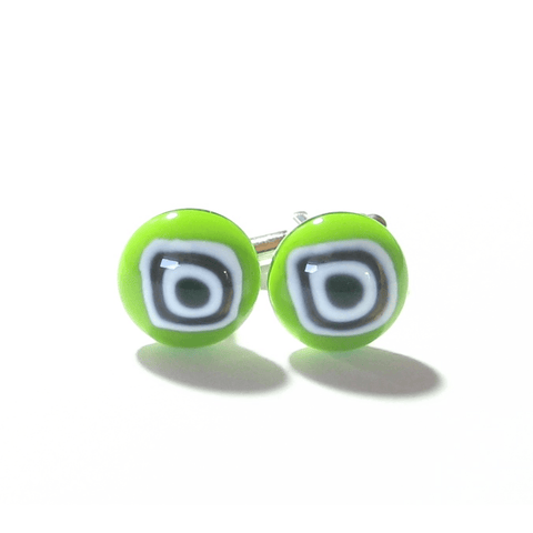 Lime Green Bulls Eye Millefiori Cuff Links, Murano Glass Jewelry - JKC Murano