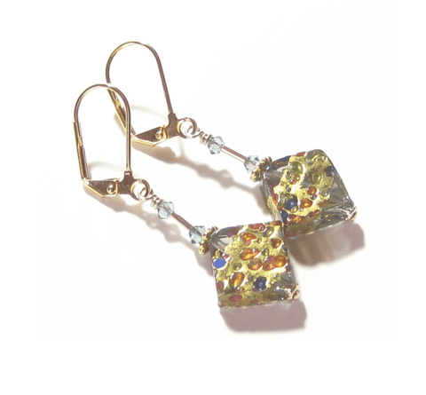 Murano Glass Colorful Grey Diamond Gold Earrings JKC Murano