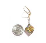 Murano Glass Colorful Grey Diamond Gold Earrings - JKC Murano