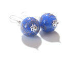 Murano Glass Lapis Blue Ball Sterling Silver Earrings JKC Murano