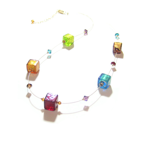 Murano Glass Colorful Large Cube Gold Necklace, Illusion Necklace - JKC Murano