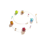 Murano Glass Colorful Large Cube Gold Necklace, Illusion Necklace JKC Murano