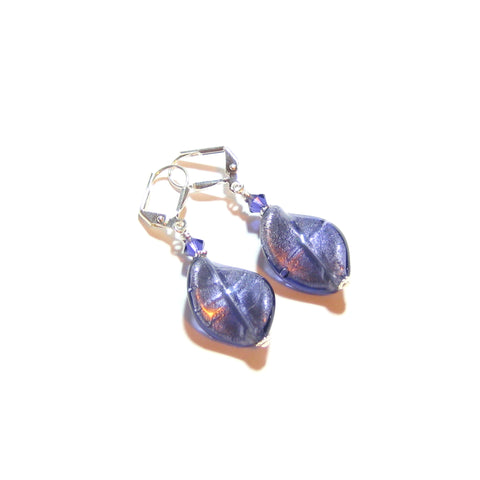 Murano Glass Plum Twist Sterling Silver Earrings JKC Murano