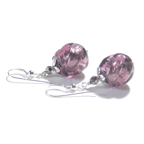 Murano Glass Purple Twist Ball Sterling Silver Earrings Murano Glass Purple Twist Ball Sterling Silver Earrings JKC Murano