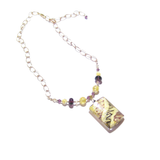Murano Glass Large Amethyst White Rectangle Pendant Gold Necklace - JKC Murano - 3