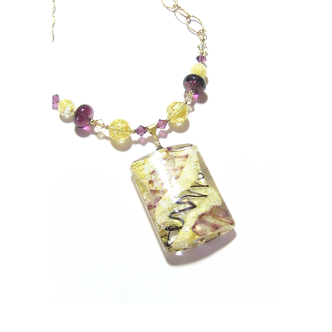 Murano Glass Large Amethyst White Rectangle Pendant Gold Necklace - JKC Murano - 1
