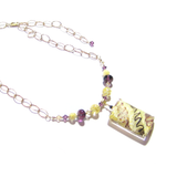 Murano Glass Large Amethyst White Rectangle Pendant Gold Necklace - JKC Murano - 4