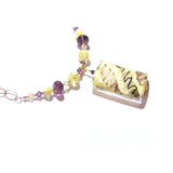 Murano Glass Large Amethyst White Rectangle Pendant Gold Necklace - JKC Murano - 5