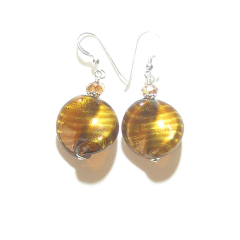 Murano Glass Large Topaz Twist Sterling Silver Earrings, Venetian Jewelry