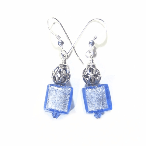 Italian Murano Glass Light Blue Cube Sterling Silver Earrings