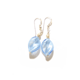 Murano Glass Light Blue 20mm Twist Gold Earrings - JKC Murano