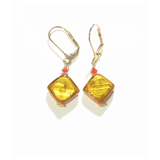 Murano Glass Topaz Orange Gold Earrings by JKC Murano - JKC Murano