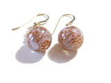 Murano Glass Purple Copper Ball Gold Earrings JKC Murano