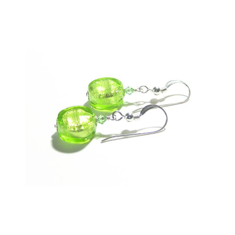Murano Glass Peridot Green 11mm Ball Gold Earrings