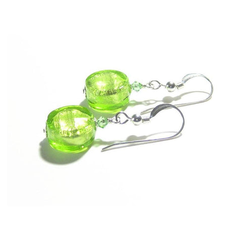 Murano Glass Lime Green Coin Silver Earrings, Venetian Jewelry
