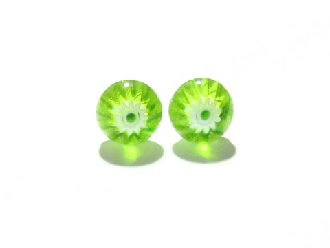 Millefiori Lime Green Sterling Silver Post Earrings, Stud Earrings JKC Murano