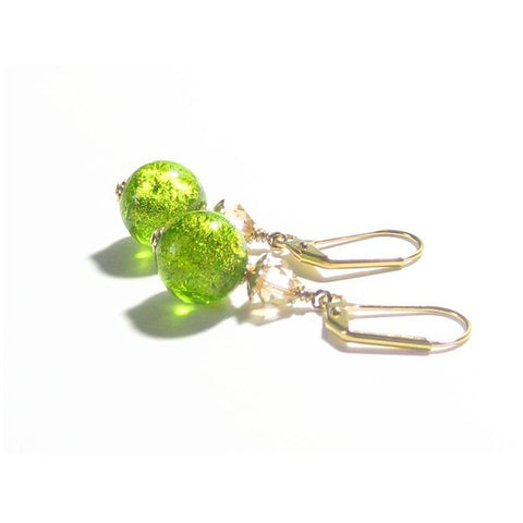 Murano Glass Green 11mm Ball Gold Earrings