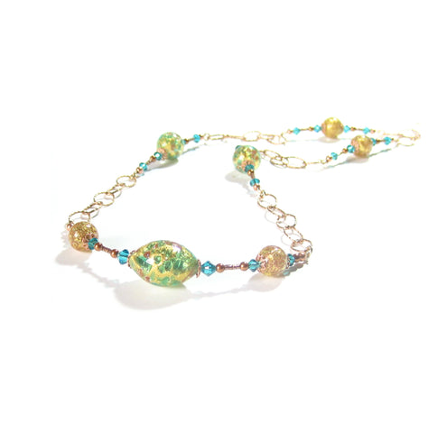 Murano glass Long Aqua Green Gold Necklace JKC Murano