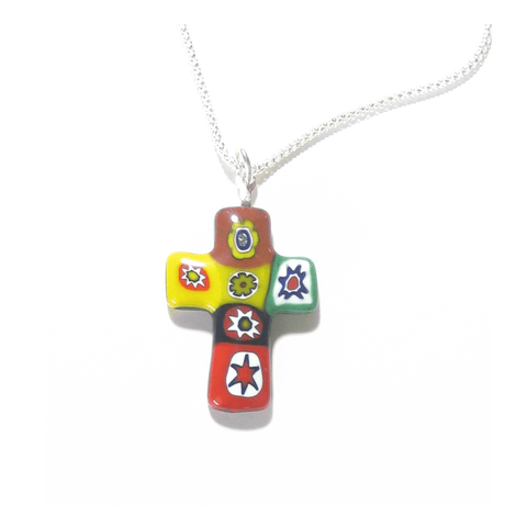 Murano Italian Glass Millefiori Colorful Cross Pendant, Sterling Silver Chain JKC Murano
