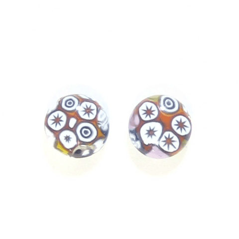 Colorful Millefiori Star Sterling Post Stud Earrings by JKC Murano - JKC Murano