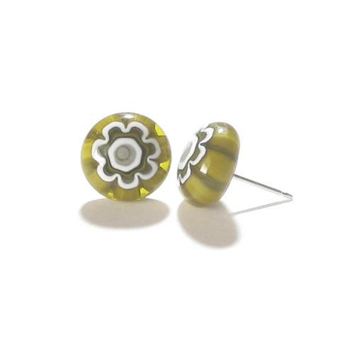 Murano Glass Olive Green Millefiori Sterling Post Stud Earrings JKC Murano