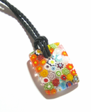 Murano Glass Colorful Millefiori Rectangle Pendant, Marked Murano JKC Murano