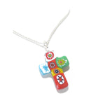 Venetian Glass Millefiori Colorful Cross Pendant, Sterling Silver Chain JKC Murano