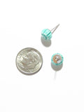Murano Millefiori Sea Green Sterling Silver Post Earrings, Studs - JKC Murano