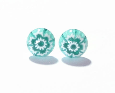 Murano Millefiori Sea Green Sterling Silver Post Earrings, Studs JKC Murano