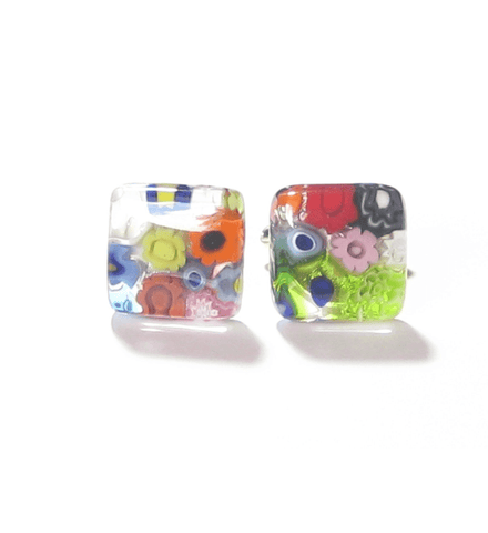 Murano Glass Millefiori Square Cuff Links JKC Murano
