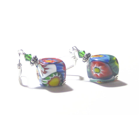 Murano Glass Colorful Millefiori Chunky Diamond Silver Earrings - JKC Murano