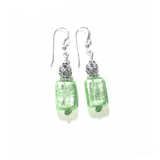 Murano Glass Mint Green Rectangle Silver Earrings by JKC Murano - JKC Murano
