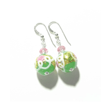 Murano Mint Green Wedding Cake Rose Silver Earrings