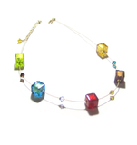 Murano Glass Colorful Cube Gold Necklace, Illusion Necklace JKC Murano