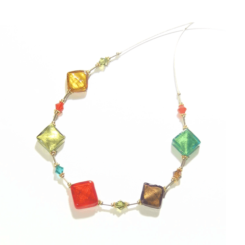 Murano Glass Colorful Diamond Fall Colors Gold Necklace