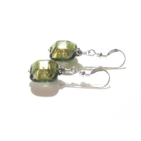 Murano Glass Olive Green Beveled Square Silver Earrings