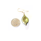 Murano Glass Olive Green Twist Gold Earrings - JKC Murano