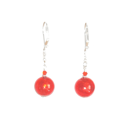 Murano Glass Vibrant Orange Ball Silver Earrings - JKC Murano