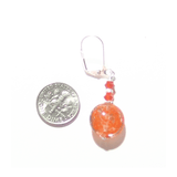 Murano Glass Orange Disc Sterling Silver Earrings by JKC Murano - JKC Murano