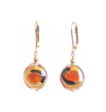 Murano Glass Orange Dot Black Gold Earrings, Leverback Earrings - JKC Murano