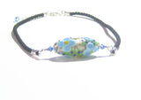 Murano Lampwork Glass Blue Flower Black Cord Necklace JKC Murano