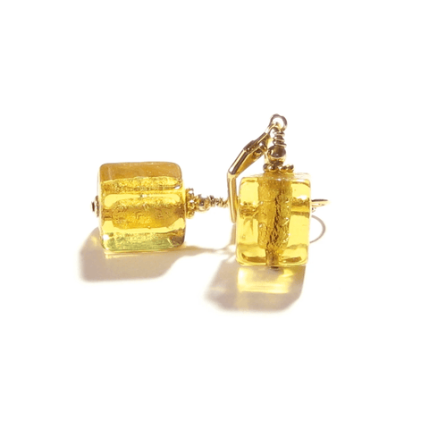 Murano Glass Pale Amber Cube Gold Earrings