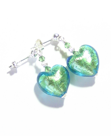 Murano Glass Light Aqua Heart Silver Earrings, Venetian Jewelry - JKC Murano - 1
